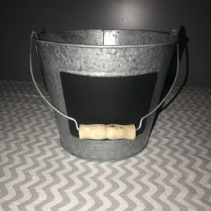 Metal bucket with chalkboard accent